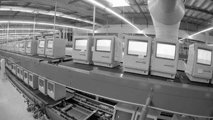 Apple Mac computers in factory P