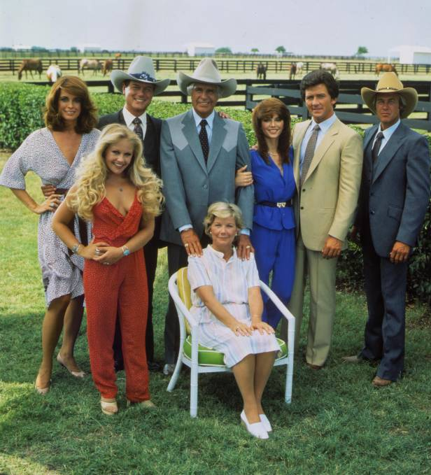 The original cast of Dallas, featuring Patrick Duffy (second right) in 1978.