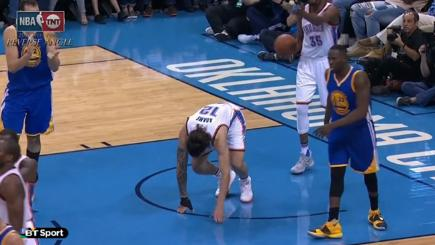 Ouch! Basketball star kicks rival in the groin
