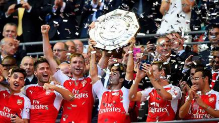 Arsenal lift the Community Sheild after their 1-0 win over Chelsea.