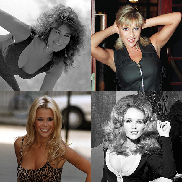 Page 3 stars. Clockwise from top left: Linda Lusardi, Samantha Fox, Vivienne Neves, Melinda Messenger