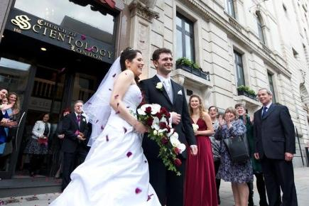 Louisa Hodkin and Alessandro Calcioli have become the first couple in Britain to tie the knot at the Church of Scientology