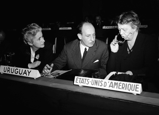 United Nations Social Committee chair Eleanor Roosevelt (right) with colleagues Elisa Elvira of Venezuela and Dr Justino Jiminez de Arechaga of Uruguay at the Palais de Chaillot in Paris.