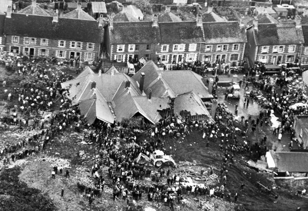 The scene at Aberfan after a man-made mountain of pit waste slid down onto Pantglas School and a row of housing killing 116 children and 28 adults.