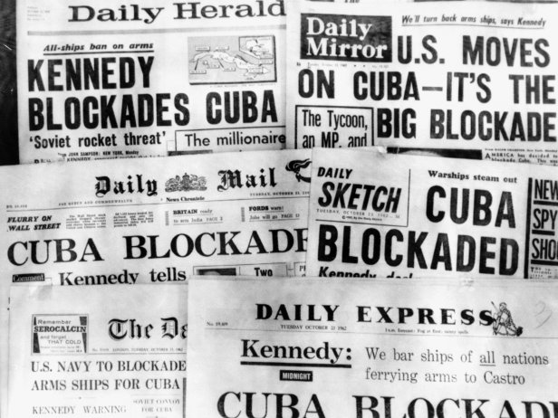 Britain's newspapers react to news of the US blockade of Cuba.