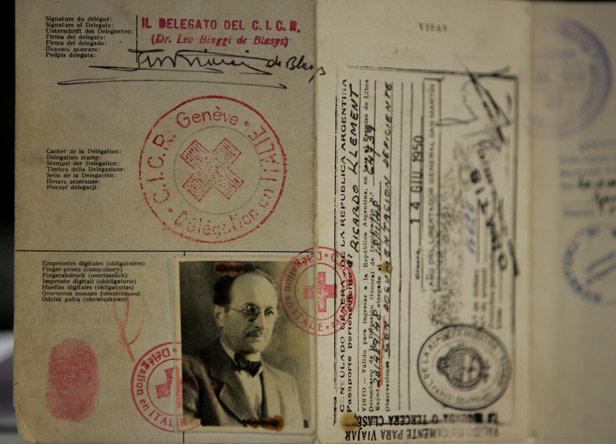 Adolf Eichmann's fake passport, bearing the name 'Ricardo Klement'.