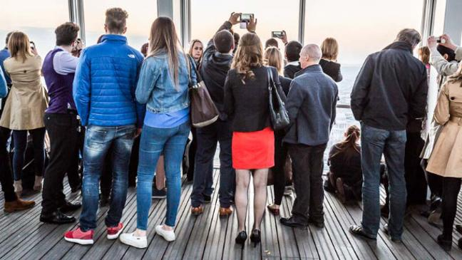 People viewing London's skylines from the shard