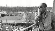 Peter Sellers on a balcony at the Dorchester Hotel in May 1979.