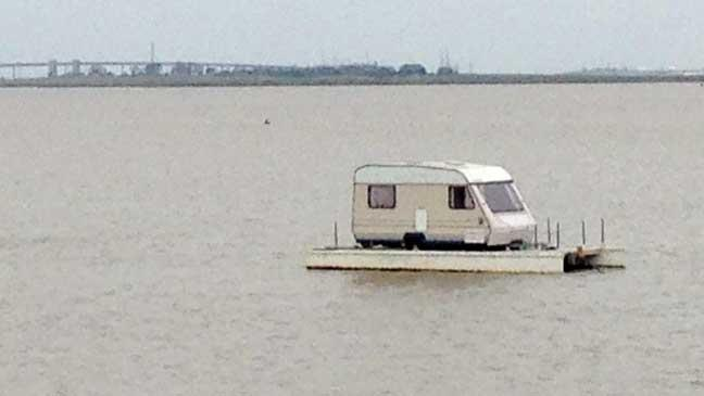 Pensioner builds amazing floating caravan that has to be