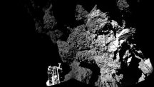 The Philae space probe safely on the surface of Comet 67P/Churyumov-Gerasimenko (Picture: European Space Agency)