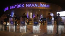 Turkish police block the entrance to Istanbul's Ataturk Airport after the attack (AP)