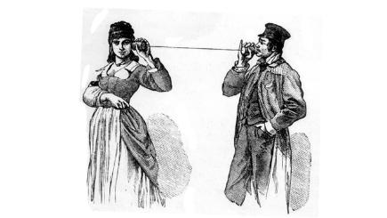 Drawing of people on string telephone H