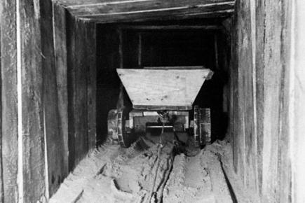 Photo showing a trolley in the famous 'Harry' escape tunnel originally built by Allied airmen at the German Stalag Luft III prisoner of war camp, in Zagan, Poland.