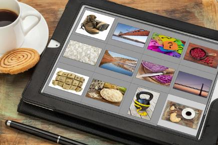 tablet with photos on