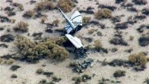 This image from video by KABC TV Los Angeles shows wreckage of what is believed to be SpaceShipTwo in southern California's Mojave Desert (AP/KABC TV)