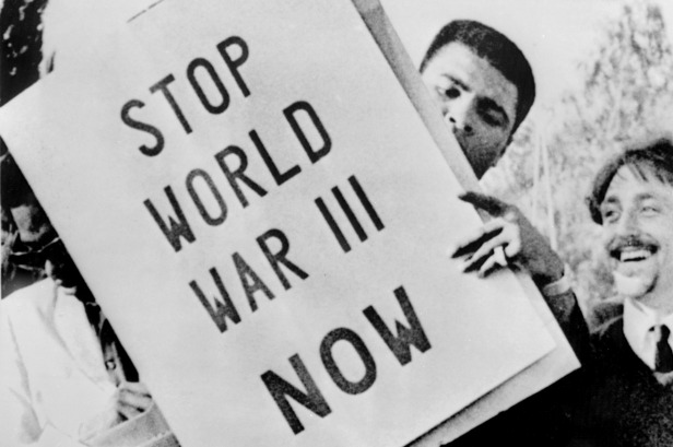 Muhammad Ali takes part in an anti-war demonstration while on bail.