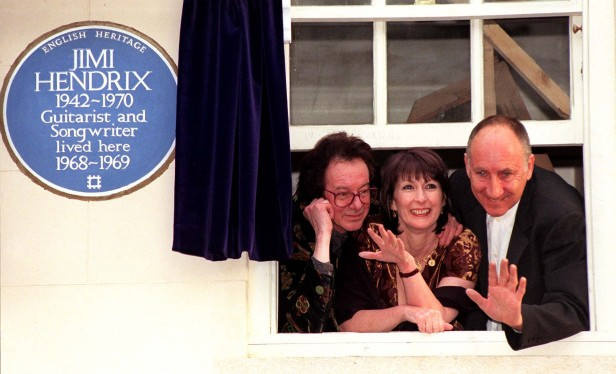 Hendrix's bassist Noel Redding, former girlfriend Kathy Etchingham and Who guitarist Pete Townshend help unveil the blue plaque to the guitarist in Brook Street, Mayfair, in 1997.