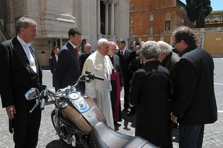 Pope Francis with his Harley-Davidson motorbike