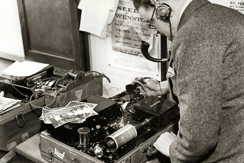 Portable picture telegraphy (facsimile) unit in use at the FA Cup Final, Wembley. 1935.