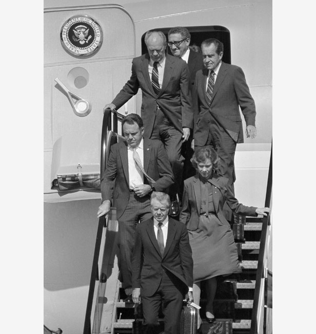 Three former US Presidents arrive in Cairo for Sadat's funeral: Gerald Ford (top left), Richard Nixon (top right) and Jimmy Carter (front).