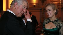 The Prince of Wales meets Australian soprano and cellist Taryn Fiebig after a concert at Buckingham Palace in London. (PA)