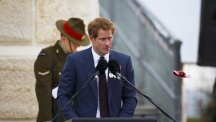 Prince Harry performs a reading the New Zealand Memorial Service at Chunuk Bair, Eceabat, Turkey as part of commemorations marking the 100th anniversary of the doomed Gallipoli campaign.