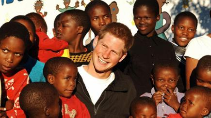 Prince Harry with orphans in South Africa