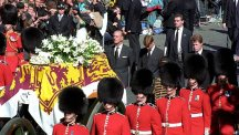 Princess Diana's sons and brother join her funeral procession at Horse Guards.