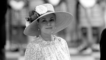 Princess Grace of Monaco at the wedding of Prince Charles and Lady Diana Spencer in 1981.