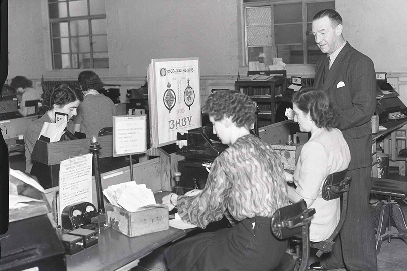 Processing congratulatory telegrams on the birth of Prince Charles. 1948.
