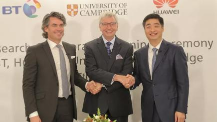 Prof Stephen Toope, Vice-Chancellor at the University of Cambridge, Gavin Patterson and Ken Hu from Huawei