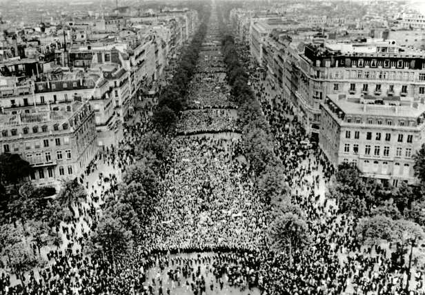 Thousands of demonstrators fill the Champs Elysees on May 30, 1968, answering President Charles de Gaulle's call for support.