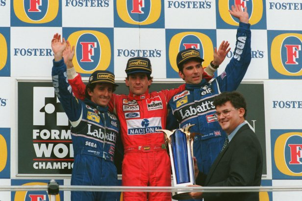 Senna (middle) and Alain Prost (left), pictured here on the podium of the 1993 Japanese Grand Prix, had been bitter rivals, but had met on the morning of Senna's death.
