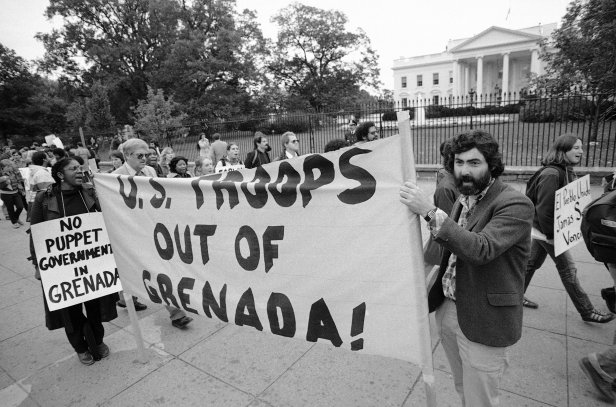 A protest against the invasion outside the White House in Washington.