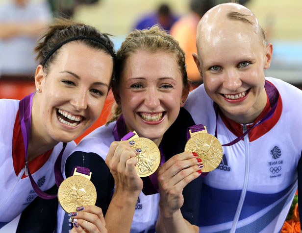 Dani King, Laura Trott and Joanna Rowsell with their gold medals in the women's team pursuit.