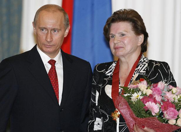 Valentina Tereshkova with current Russian President Vladimir Putin in 2007.