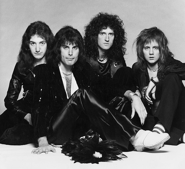 Mercury (second from left) with Queen bandmates