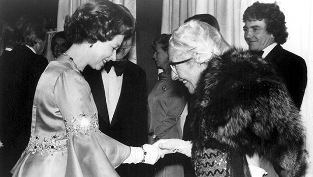 The Queen and Dame Agatha Christie at the Royal Premier of Murder on the Orient Express