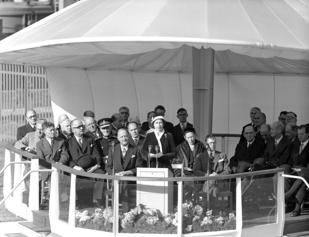 The Queen gives her speech before pulling the switch that brought Calder Hall into operation.