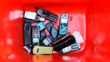 Old Nokia handsets in red box
