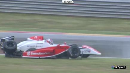 Screengrab of Formula Renault driver Martin Kodric in his damaged car after a crash.