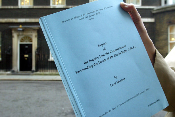 Lord Hutton's report on the circumstances into Kelly's death, published in January 2004.