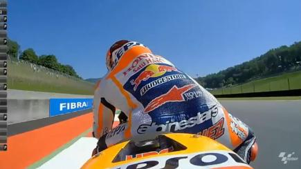 Screengrab of shots taken from onboard camera attached to the bike of MotoGP champion Marc Marquez.
