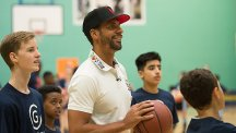 Rio Ferdinand at a BT Supporters Club event with young people