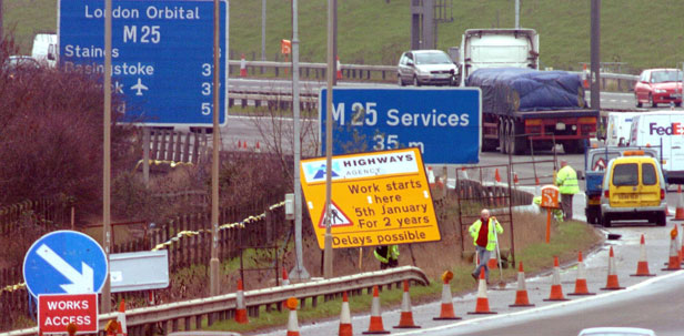 The need to widen the M25 from its original three lanes to as many as six has resulted in regular roadworks.