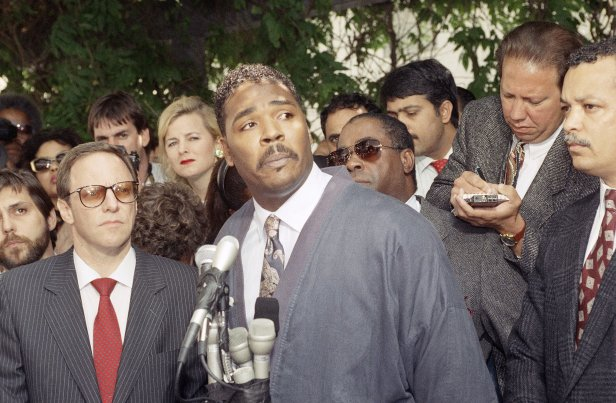 Rodney King pleads for the rioting to end on May 1.