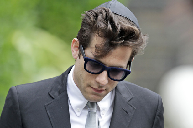 Winehouse's friend and collaborator Mark Ronson at her funeral.