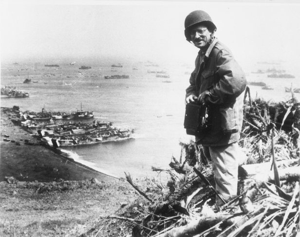 Joe Rosenthal photographed overlooking Iwo Jima