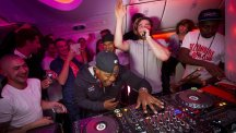 DJ Locksmith, left, and Piers Aget of Rudimental perform onboard the inaugural flight of the Virgin Atlantic 787 over the Atlantic Ocean