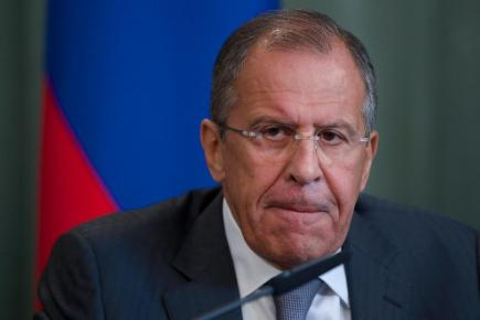 Russian foreign minister Sergey Lavrov speaks to the media after his talks with Syrian counterpart Walid al-Mouallem (AP)